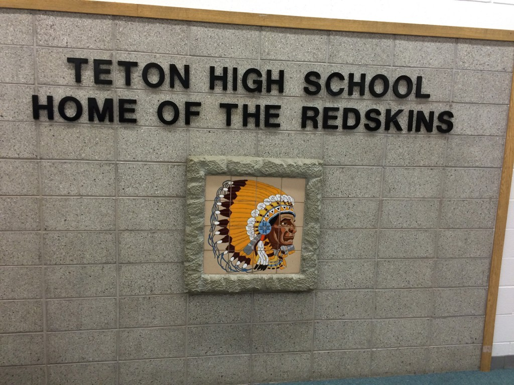 Photo: Emblem in the main foyer at Teton High school in Driggs, Idaho. Photo by John Biewen.