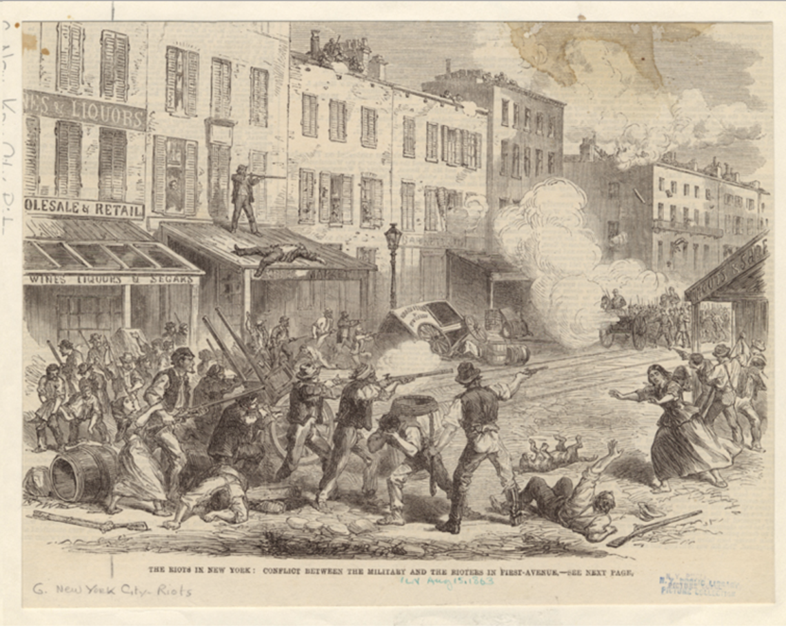 : New York City during the Draft Riots of 1863. Credit: Greenwich Village Society of Historical Preservation.