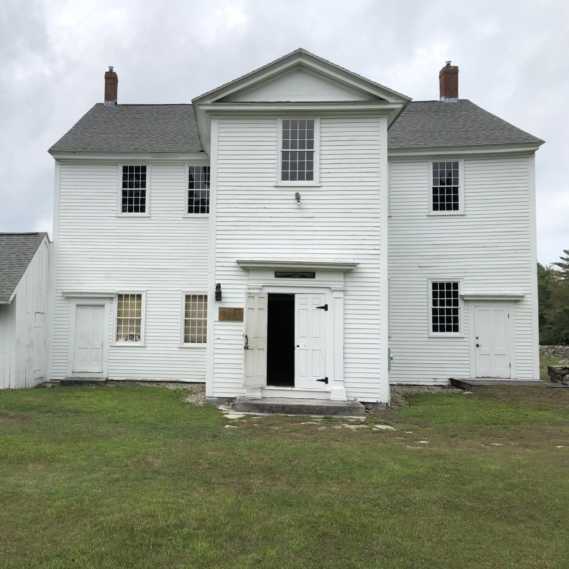 Pelham Town Hall, Pelham, Massachusetts, the site of meetings for the farmers' protest movement that came to be called Shays' Rebellion, in 1786-7.