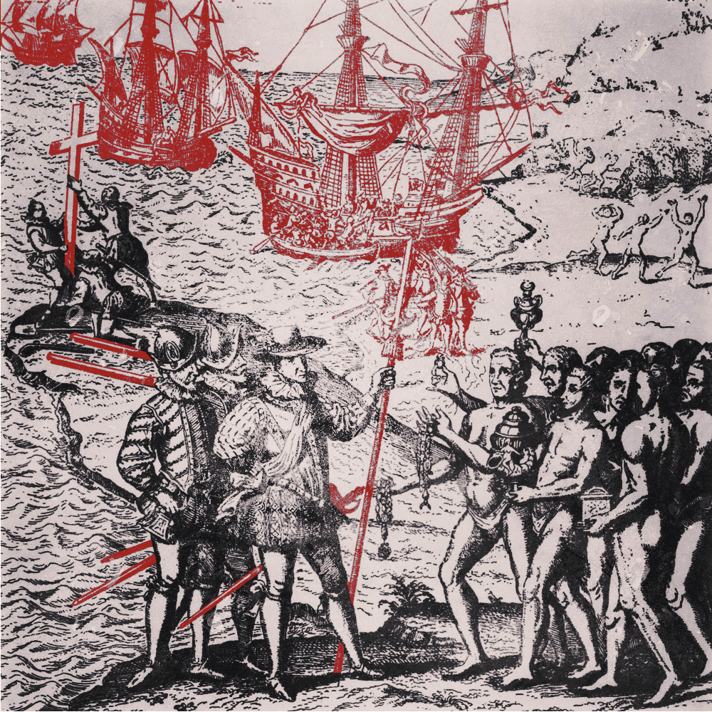 Christopher Columbus landing at Hispaniola in 1492. Engraving from Herrera, 'Historia General De Los Hechos De Los Castellanos,' 1601. Edited photo highlights the ships, weapons, seamen, and the Christian cross in bright red.