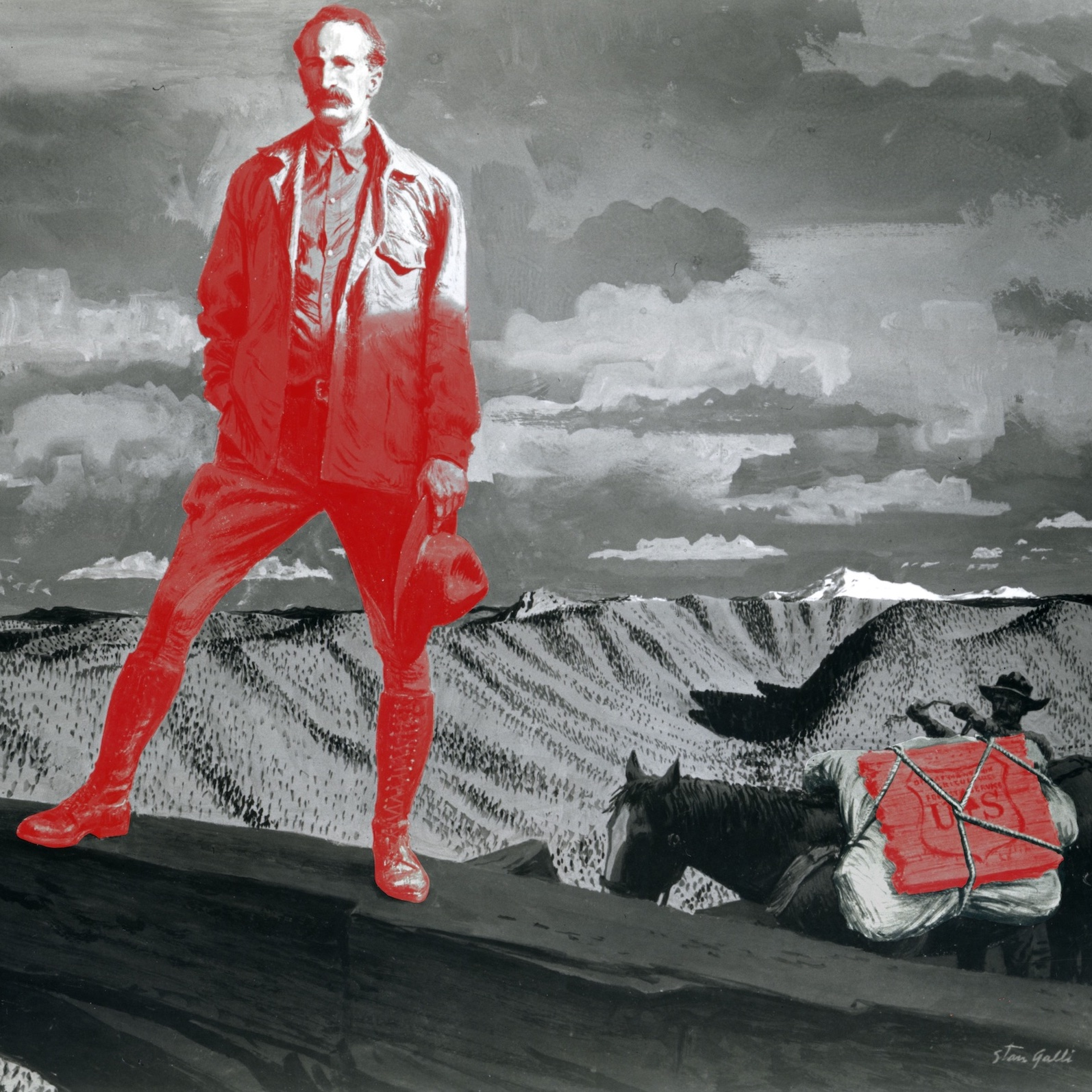 """Season 5 art and image editing by Mara Guevarra. Episode image: Photo of a painting of Gifford Pinchot by artist Stan Galli, 1955, with image editing by Mara Guevarra. The painting was commissioned by the Weyerhauser Timber Company for an ad campaign promoting """"productive"""" forest management. Image courtesy of the Forest History Society, Durham, North Carolina."""