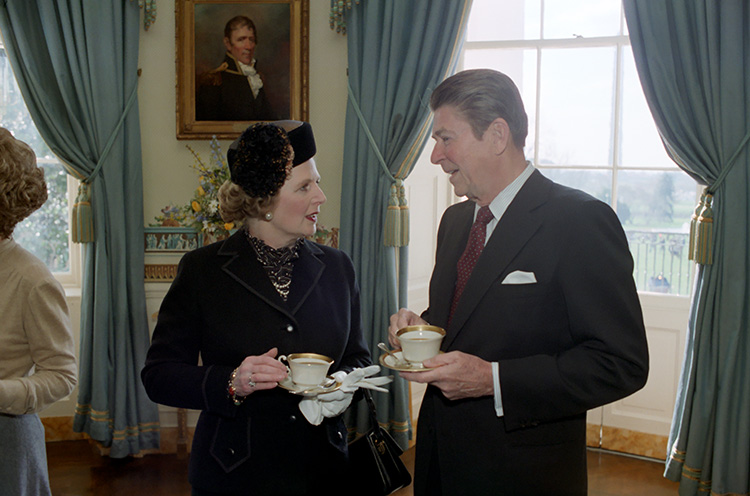 2/26/1981 President Reagan with Prime Minister Thatcher of the United Kingdom in the Blue Room during her state visit