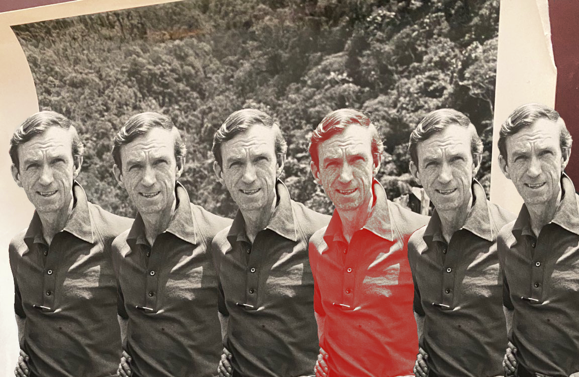 Episode image: E. Bruce Harrison in Indonesia, 1970, working for the American mining company Freeport McMoRan. Duplicate Harrisons lined up against jungle background. Photo courtesy of his daughter, Susan Harrison. Image editing by Mara Guevarra.